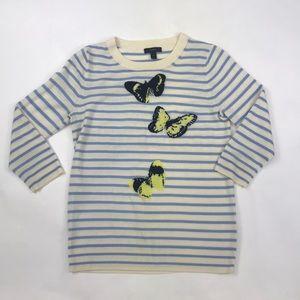 J. Crew Striped Butterfly Sweater